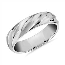 Matte & Polish Twist Wedding Ring in 14k White Gold (6mm) | Blue Nile
