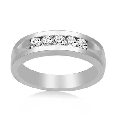 Men's 14K White Gold Band with Channel Set Round Diamonds (1/2 cttw.)