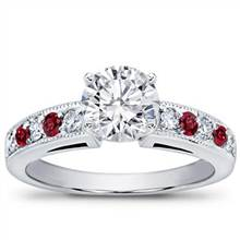 Milgrain and Pave Ruby Engagement Setting | Adiamor