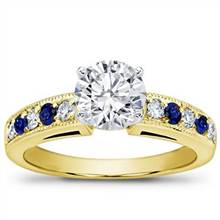 Milgrain and Pave Sapphire Engagement Setting | Adiamor