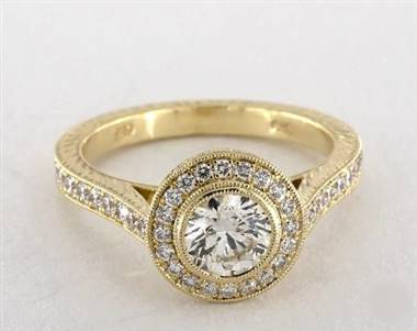 Milgrain Bezel-Set Halo Engagement Ring in 14K Yellow Gold 4mm Width Band (Setting Price)