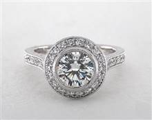Milgrain Bezel-Set Halo Engagement Ring in 4mm 14K White Gold (Setting Price) | James Allen