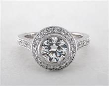 Milgrain Bezel-Set Halo Engagement Ring in 4mm Platinum (Setting Price) | James Allen