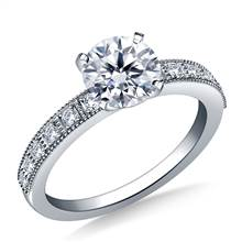 Milgrain Edged Diamond Engagement Ring in 14K White Gold (1/8 cttw.) | B2C Jewels