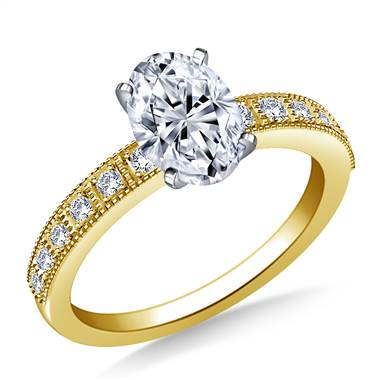 Milgrain Edged Diamond Engagement Ring in 14K Yellow Gold (1/8 cttw.)