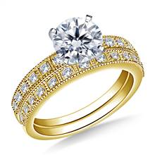 Milgrain Edged Diamond Engagement Ring with Matching Band in 14K Yellow Gold (1/3 cttw.) | B2C Jewels