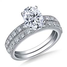 Milgrain Edged Diamond Engagement Ring with Matching Band in 18K White Gold (1/3 cttw.) | B2C Jewels