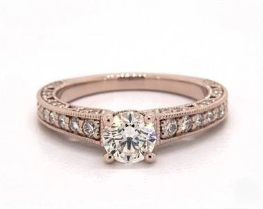 Milgrain Lace Pave .58ctw Engagement Ring in 14K Rose Gold 2mm Width Band (Setting Price)