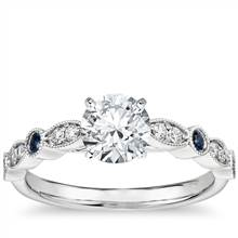 Milgrain Marquise Diamond and Sapphire Engagement Ring in 14k White Gold (1/10 ct. tw.) | Blue Nile