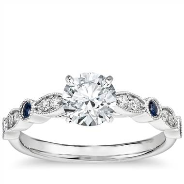 Milgrain Marquise Diamond And Sapphire Engagement Ring In 14k White Gold 1 10 Ct Tw Blue Nile 44883