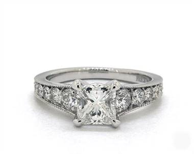 Milgrain Reverse Taper Pave .47ctw Engagement Ring in 18K White Gold 2mm Width Band (Setting Price)