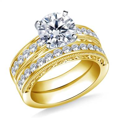 Milgrained Channel Set Round Diamond Ring with Matching Band in 14K Yellow Gold (3/4 cttw)