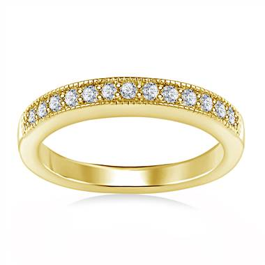 Milgrained Pave Set Diamond Band in 14K Yellow Gold (1/4 cttw.)