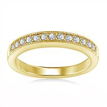 Milgrained Pave Set Diamond Band in 18K Yellow Gold (1/4 cttw.) | B2C Jewels