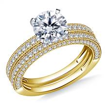 Milgrained Pave Set Diamond Ring with Matching Band in 18K Yellow Gold (1 1/3 cttw.) | B2C Jewels