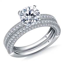 Milgrained Pave Set Diamond Ring with Matching Band in Platinum (1 1/3 cttw.) | B2C Jewels