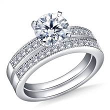 Milgrained Pave Set Round Diamond Ring with Matching Band in 14K White Gold (1/2 cttw.) | B2C Jewels