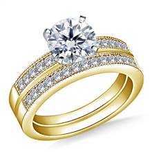 Milgrained Pave Set Round Diamond Ring with Matching Band in 14K Yellow Gold (1/2 cttw.) | B2C Jewels