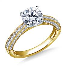 Milgrained Vintage Pave Set Diamond Engagement Ring in 14K Yellow Gold (1/3 cttw.) | B2C Jewels