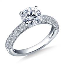Milgrained Vintage Pave Set Diamond Engagement Ring in 18K White Gold (1/3 cttw.) | B2C Jewels