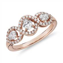 Mixed Fancy Shape Diamond Halo Fashion Ring in 14k Rose Gold (3/4 ct. tw.) | Blue Nile