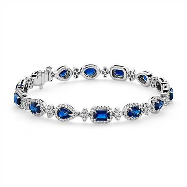 """Mixed-Shape Sapphire and Diamond Bracelet in 18k White Gold"""
