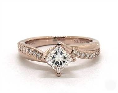 Modern Kite-Set Twisted-Shank-Pave Engagement Ring in 14K Rose Gold 4mm Width Band (Setting Price)