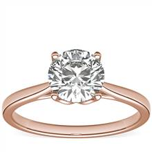 Monique Lhuillier Cathedral Solitaire Engagement Ring in 18k Rose Gold | Blue Nile