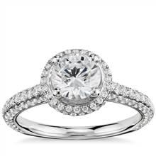 Monique Lhuillier Everlasting Halo Diamond Engagement Ring in Platinum (3/4 ct. tw.) | Blue Nile