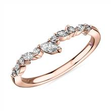 Monique Lhuillier Marquise Diamond Leaf Curved Band in 18k Rose Gold (1/4 ct. tw) | Blue Nile