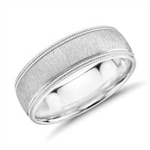 Monique Lhuillier Satin Double Milgrain Wedding Band in Platinum (7mm) | Blue Nile
