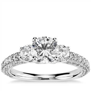 Monique Lhuillier Three-Stone Trio Micropave Diamond Engagement Ring in Platinum (1 ct. tw.)