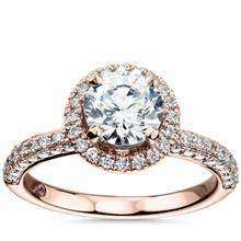 Monique Lhuillier Timeless Rollover Halo Diamond Engagement Ring in 18k Rose Gold (3/4 ct. tw.) | Blue Nile