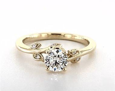 Nature Inspired Vintage Engagement Ring in 1.8mm 14K Yellow Gold (Setting Price)