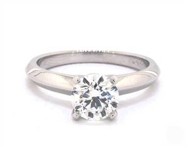 Nouveau Solitaire Majestic 4-Prong Engagement Ring in 18K White Gold 2.45mm Width Band (Setting Price)