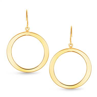 Open Circle Freeform Large Hoop Earrings in 14K Yellow Gold