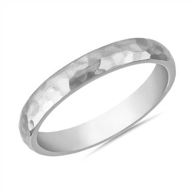 """Organic Hammered Wedding Ring in 14k White Gold (3mm)"""