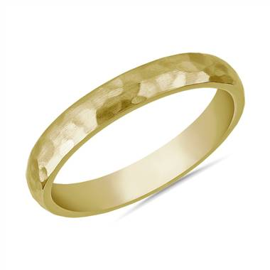"""Organic Hammered Wedding Ring in 14k Yellow Gold (3mm)"""