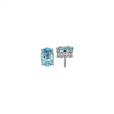 """Oval Aquamarine and Diamond Earrings in 14k White Gold (7x5mm)"""