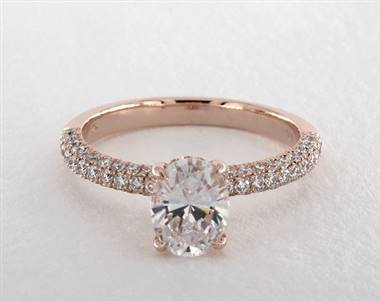 Oval Basket Pave .69ctw Engagement Ring in 14K Rose Gold 2.20mm Width Band (Setting Price)