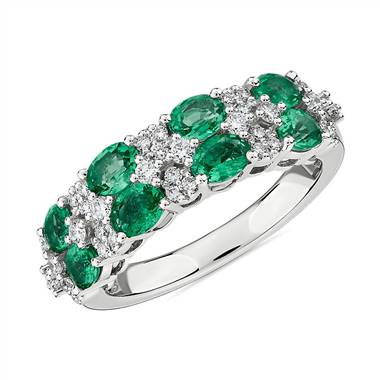 """Oval Emerald & Round Diamond Double Row Ring in 14k White Gold"""