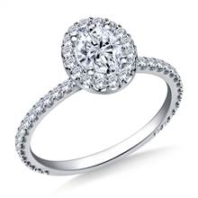 Oval Halo Engagement Ring in 18K White Gold | B2C Jewels
