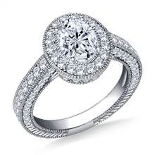 Oval Halo Vintage Diamond Engagement Ring in 18K White Gold | B2C Jewels