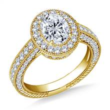 Oval Halo Vintage Diamond Engagement Ring in 18K Yellow Gold | B2C Jewels