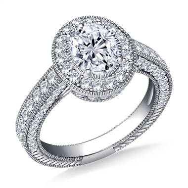 Oval Halo Vintage Diamond Engagement Ring in Platinum