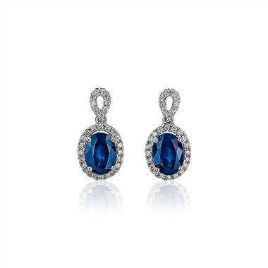 Oval Sapphire and Diamond Halo Drop Earrings in 14k White Gold