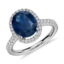 Oval Sapphire and Diamond Halo Micropave Ring in 18k White Gold (10x8mm) | Blue Nile