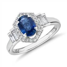 Oval Sapphire Ring with Diamond Hexagon Halo and Baguette Sidestones in 14k White Gold (7x5mm) | Blue Nile