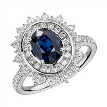 Oval Sapphire Ring with Double Diamond Sunburst Halo in 14k White Gold | Blue Nile