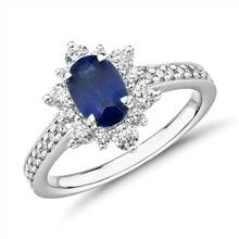 Oval Sapphire Ring with Star Halo in 14k White Gold (7x5mm) | Blue Nile